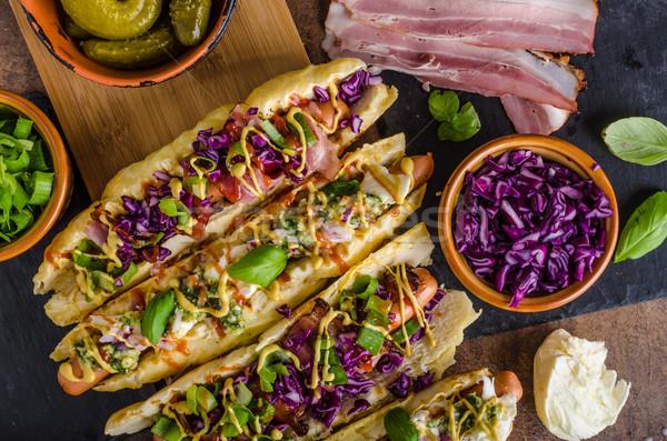 Alle rundvlees hot dog kool spek kaas Stockfoto © Peteer