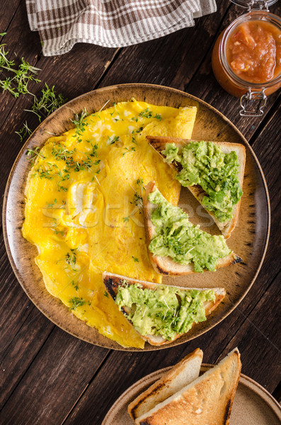 Oeuf ail avocat Toast bio oeufs Photo stock © Peteer
