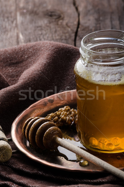 Honey rustic photography, food advertisment Stock photo © Peteer