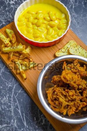 Caril batata madeira prato fundo Foto stock © Peteer