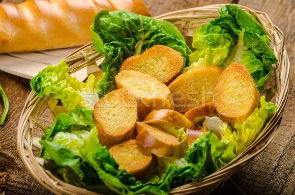 Mais Huhn Spinat Toast Senf Sauce Stock foto © Peteer