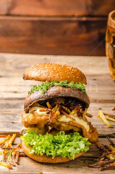 Fish and Chips Burger with grilled portobello Stock photo © Peteer