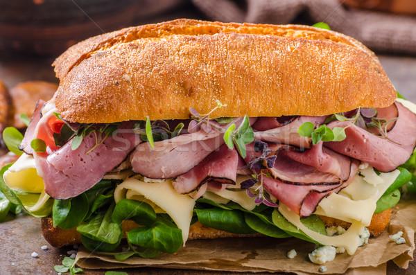 サンドイッチ ハム チーズ レタス 子羊 単純な ストックフォト © Peteer