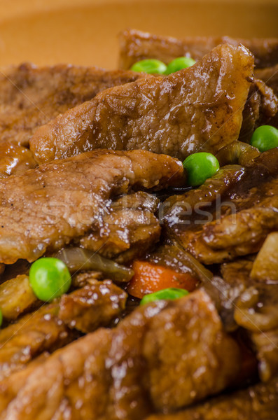 Pork medallions with vegetable and soy garlic sauce Stock photo © Peteer