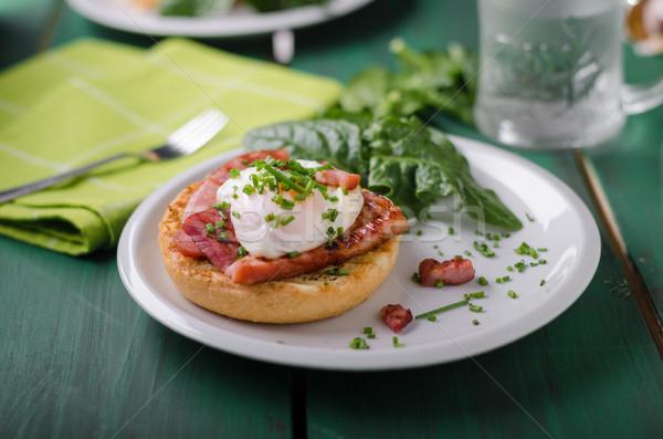 Egg benedict delish food, crispy bacon Stock photo © Peteer