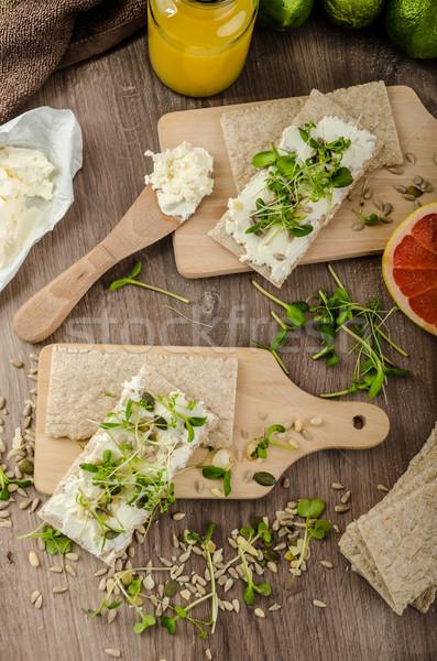 Gesunden Frühstück Sahne Käse frischen Stock foto © Peteer