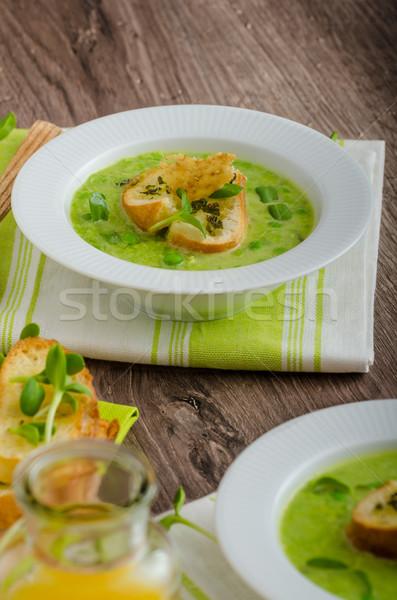 Spring peas soup Stock photo © Peteer