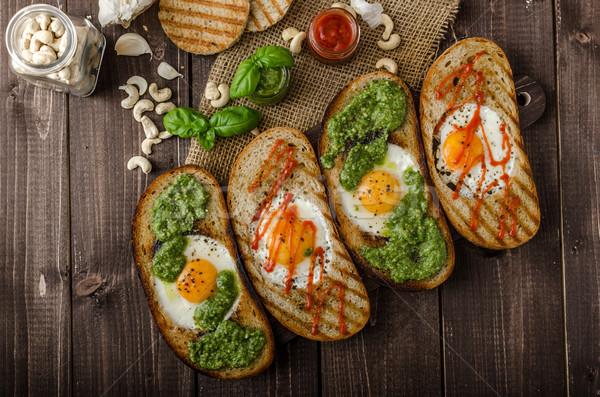 жареный яйца внутри хлеб Панини Сток-фото © Peteer