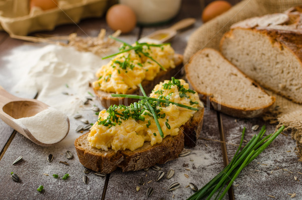 Rántotta gyógynövények ropogós kenyér házi készítésű étel Stock fotó © Peteer