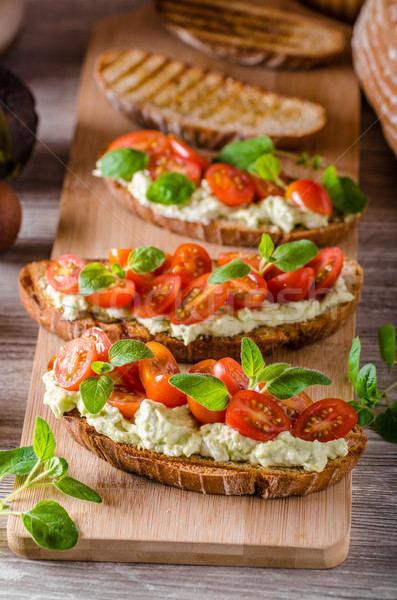 świeże ser panini chleba zioła pomidorki Zdjęcia stock © Peteer