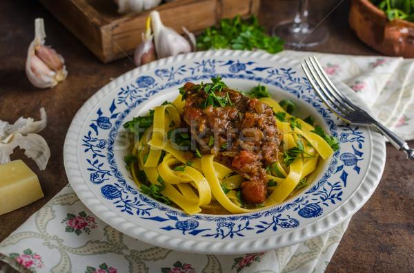 Stok fotoğraf: İtalyan · makarna · sığır · eti · güveç · rustik · gıda · lezzetli