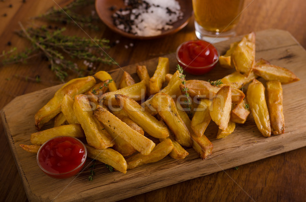 Homemade french fries with organic ketchup Stock photo © Peteer