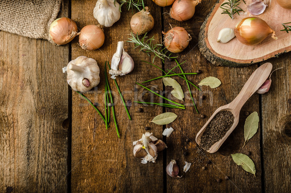 Onions, garlic and herbs bio from the garden Stock photo © Peteer