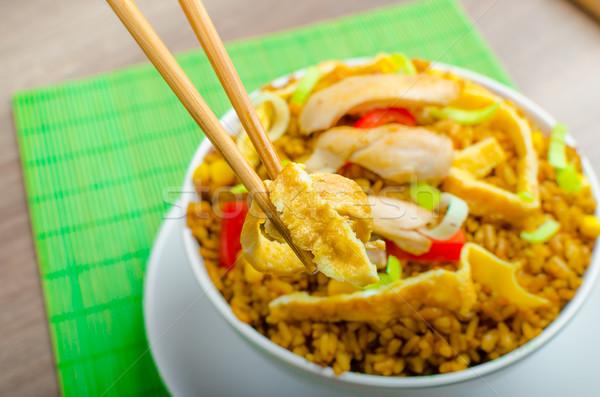 Foto stock: Caril · de · frango · arroz · chinês · verde