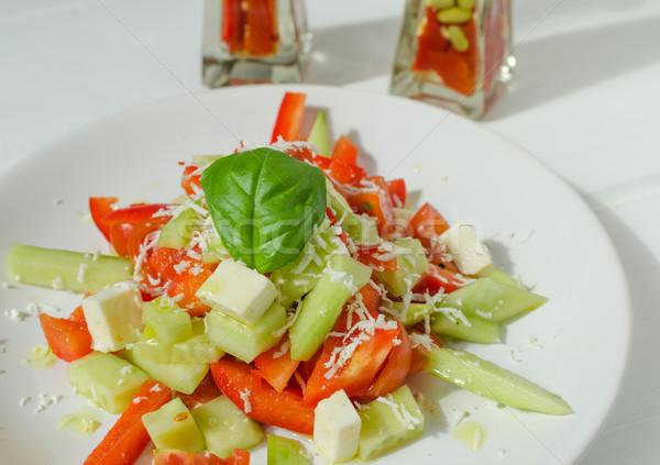 Friss saláta fetasajt délután nap háttér Stock fotó © Peteer