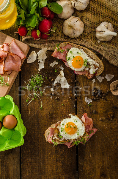Gerookt ham sandwich rustiek brood Stockfoto © Peteer