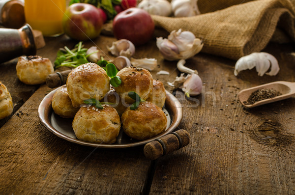 Stock photo: Cheese mini buns from domestic dough