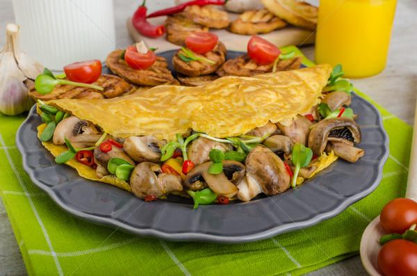 ベジタリアン 食べる クリーン 食品 ハーブ キノコ ストックフォト © Peteer