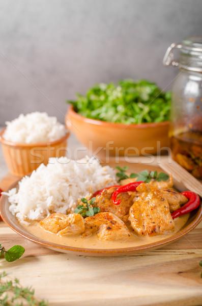 Stock fotó: Finom · csirkés · curry · fehér · rizs · egyszerű · tele