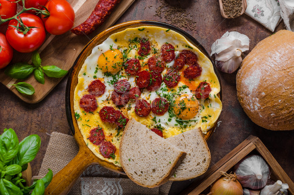 Chorizo ervas fresco pão saboroso bio Foto stock © Peteer