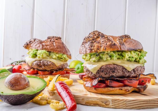 牛肉 ハンバーガー アボカド ディップ トマト ストックフォト © Peteer
