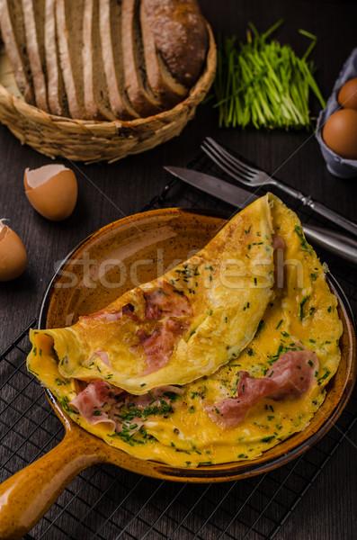 ветчиной яйцо простой свежие хлеб Сток-фото © Peteer