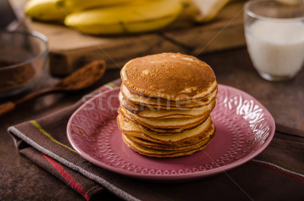 American pancakes with banana, chocolate Stock photo © Peteer