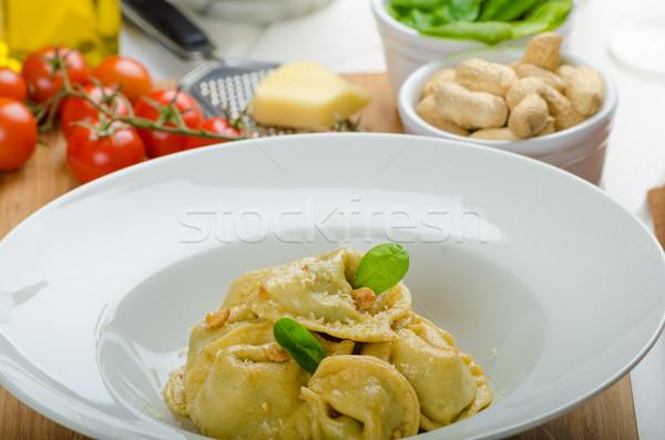 домашний Пельмени фаршированный шпинат чеснока сокращение Сток-фото © Peteer