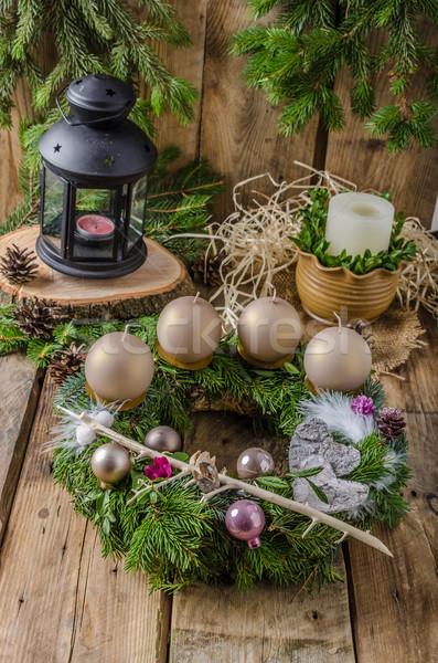 Christmas advent wreath Stock photo © Peteer