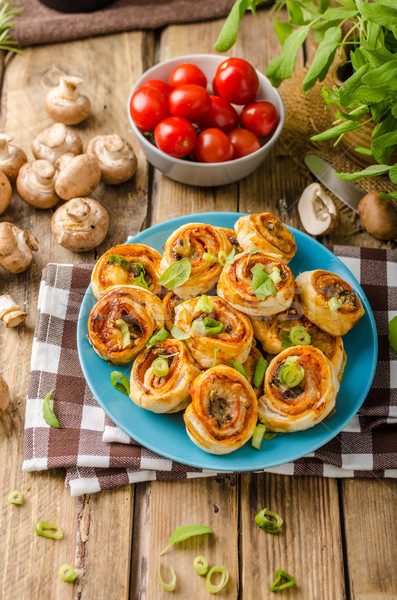 Pizza snails puff pastry Stock photo © Peteer