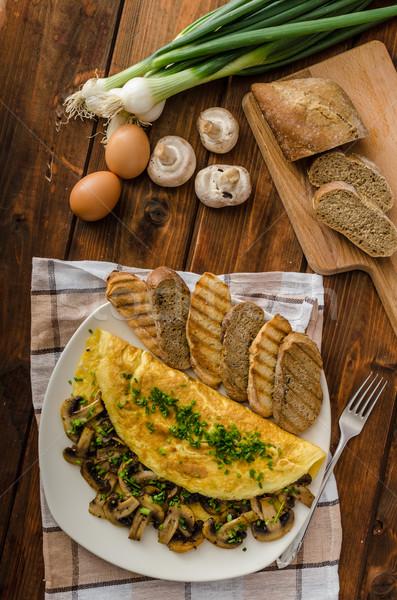Rustiek champignons bieslook panini gezondheid Stockfoto © Peteer