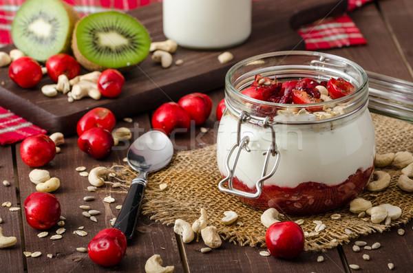 Domestique cerise yogourt se demander semences fruits Photo stock © Peteer