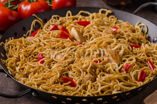 Chinese noodles chicken Stock photo © Peteer