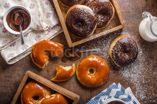 Maison donuts deux chocolat noir Photo stock © Peteer