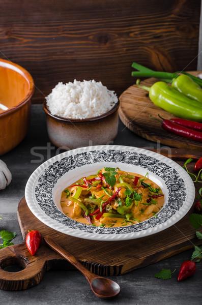 Caril de frango comida arroz ervas carne escuro Foto stock © Peteer