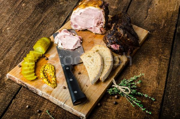 Gerookt vlees augurken vertragen geheel graan Stockfoto © Peteer