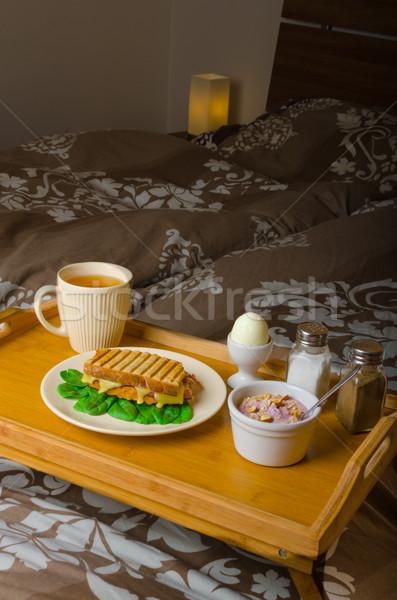 Stockfoto: Ontbijt · bed · best · start · ochtend · koffie