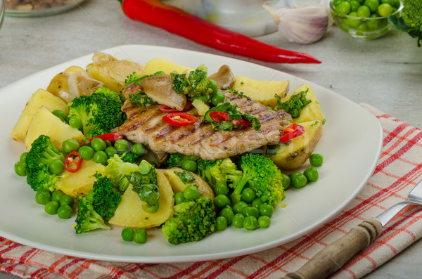 Healthy Pork Escalope with Super Greens Stock photo © Peteer