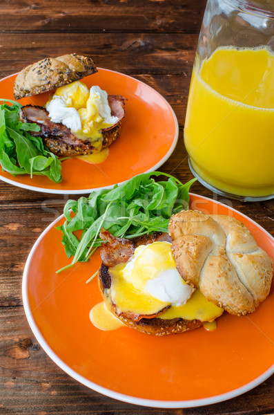 English muffin with bacon, egg benedict Stock photo © Peteer