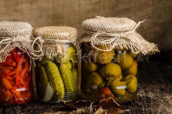 Cooked vegetables, pickles, homemade ketchup Stock photo © Peteer