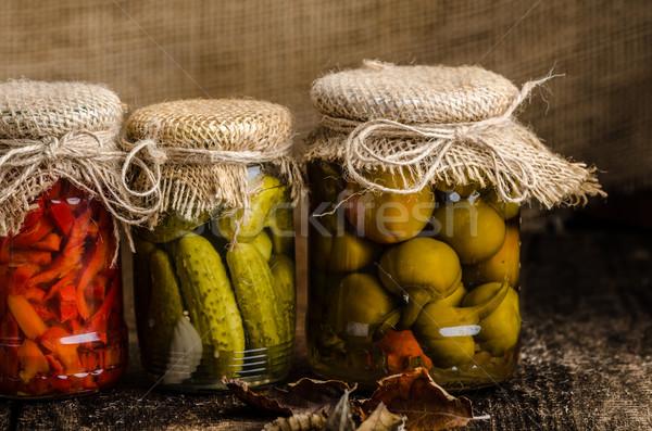 Gekookt groenten augurken eigengemaakt ketchup gebakken Stockfoto © Peteer