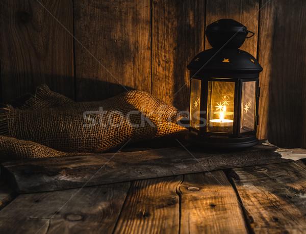 Humeurig foto lantaarn plaats tekst Stockfoto © Peteer