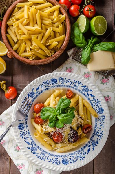 Сток-фото: пасты · растительное · простой · сыр · пармезан