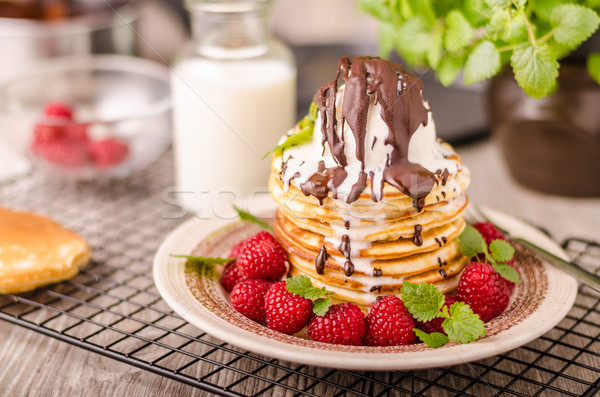 American pancakes with icecream and chocolate Stock photo © Peteer
