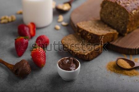 Stok fotoğraf: Ekmek · taze · çilek · çikolata · arka · plan