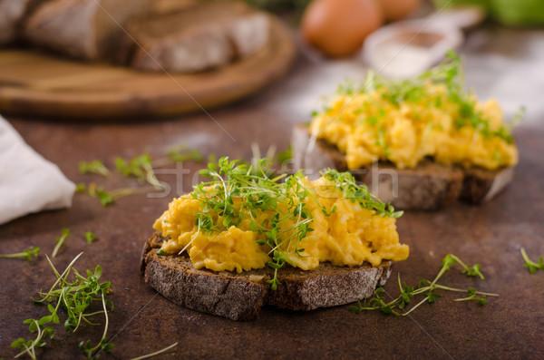 Rántotta teljes kiőrlésű kenyér friss zöld vacsora Stock fotó © Peteer