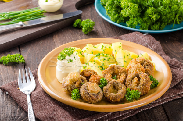 Breaded mushrooms fried with mayo Stock photo © Peteer