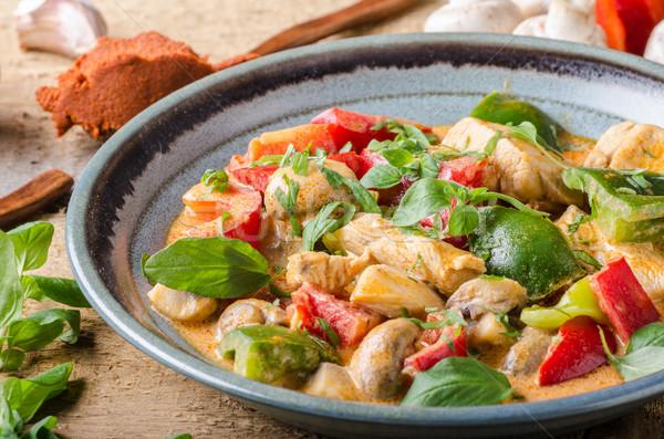 Curry pollo vegetales alimentos frescos alimentos fotografía Foto stock © Peteer