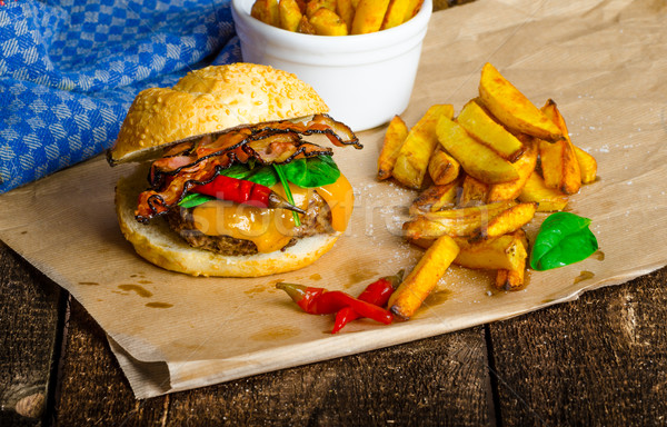 Homemade chilli burger with home spicy fries Stock photo © Peteer