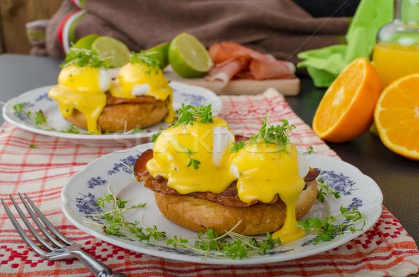 Yumurta prosciutto gıda arka plan ekmek plaka Stok fotoğraf © Peteer